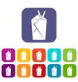 chinese food box icons set flat vector image vector image