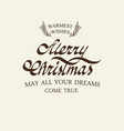 christmas greetings typography design postcard vector image vector image