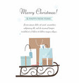 christmas sleigh filled gift boxes and bags vector image