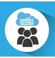 cloud connection social media keyboard vector image vector image