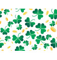 clover leaves and golden coins seamless pattern vector image vector image