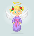 cute happy christmas angel character vector image vector image