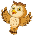 Cute owl cartoon flying vector image