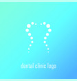 dental clinic logo with tooth shape by circles vector image vector image