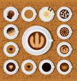 different types of coffee chocolate cocoa cups top vector image vector image