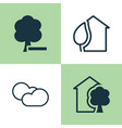 ecology icons set collection of home cloud vector image