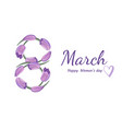 flower tulip number eight happy womens day text vector image
