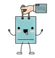 hand holding animated kawaii shopping bag in vector image vector image