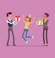 happy family at birthday party celebration vector image vector image