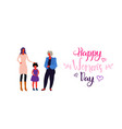happy three generations women standing together vector image