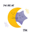 hugging cute moon and star characters sweet image vector image