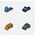 isometric transport set of armored truck autobus vector image vector image