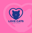 logo love cat heart vet clinic vector image