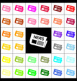 newspaper sign felt-pen 33 colorful icons vector image vector image