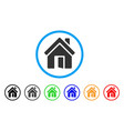 open house door rounded icon vector image