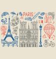 paris set in vintage retro style france eiffel vector image vector image