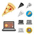 pizza and pizzeria cartoonblackflatmonochrome vector image vector image