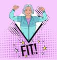 pop art fit senior mature woman showing muscles vector image vector image