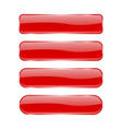 red glass buttons shiny rectangle 3d icons with vector image vector image