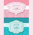 retro wedding card set vector image vector image