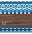 Seamless knitted pattern on a wood background vector image