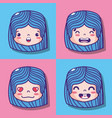 set girl face emoticon message vector image