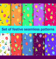 set of seamless patterns with balloons and caps vector image vector image