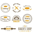 Set of vintage bakery logos labels badges and vector image vector image