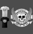 skull with royal crown and wings vector image vector image