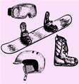 snowboarding equipment vector image vector image