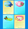 spring sale labels on posters add text butterflies vector image vector image