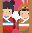 sweet japanese kokeshi dolls in kimono vector image