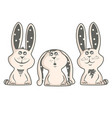three happy bunnies vector image