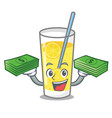 with money bag lemonade mascot cartoon style vector image vector image