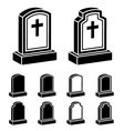 3d tombstone cross black symbol vector image vector image