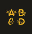 a b c d initial letter with coconut tree in gold