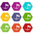 angular football icons set 9 vector image vector image