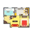 Apartment Floor Plan with Furniture Top View vector image vector image