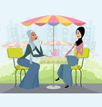 arab women in cafe vector image