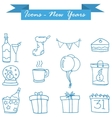 art of New Year icons vector image vector image