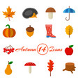 autumn set of 14 icons in a flat style vector image