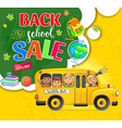 back to school action with children and bus vector image vector image