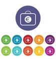 Bag with euro symbol icon set vector image