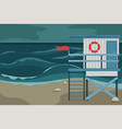 beach landscape with a lifeguard house storm vector image vector image