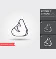 bean bag chair line icon with editable stroke vector image