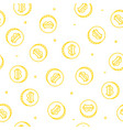 bitcoin seamless pattern coins drawing on white vector image