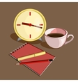 Business workplace with clock pen pencils and vector image