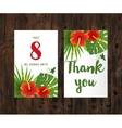 cards with tropical leaves and flowers vector image vector image