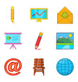 correspondence icons set cartoon style vector image vector image