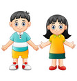 cute children waving hand vector image vector image